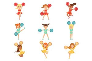 Primary School Little Girls In Cheerleaders Uniform Cheering And Cheerleading With Pompoms Set Of Happy Kids Cartoon Characters