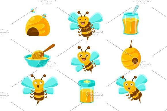 Honey Bees Beehives And Jars With Yellow Natural Honey Set Of Colorful Cartoon Illustrations
