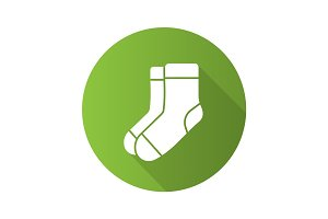 Warm socks flat design long shadow glyph icon