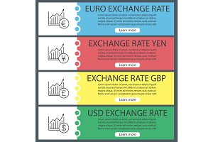 Currencies exchange rate web banner templates set