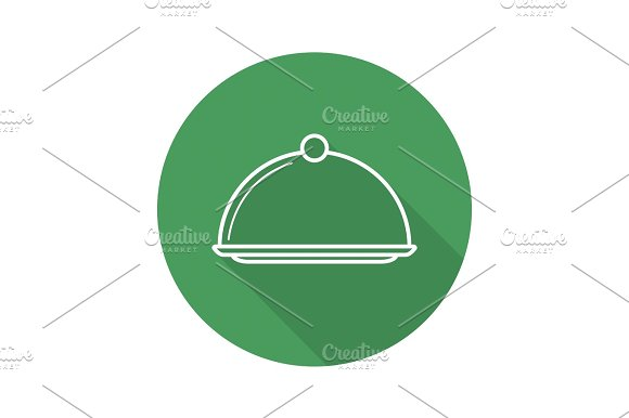 Covered Dish Flat Linear Long Shadow Icon