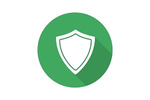 Protection shield flat design long shadow glyph icon