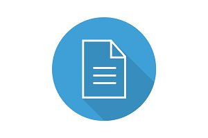 Document flat linear long shadow icon