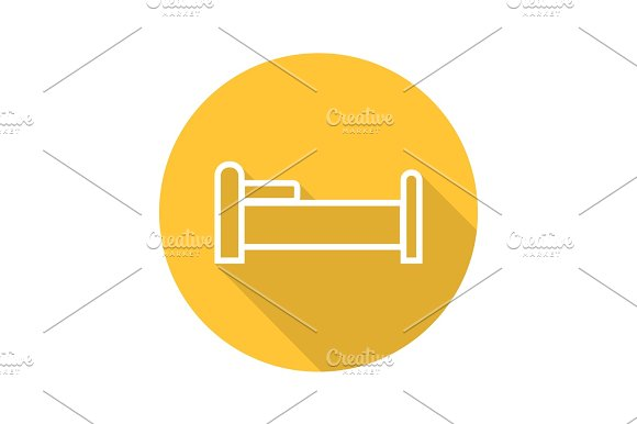 Bed Flat Linear Long Shadow Icon