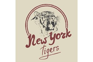 new york tiger retro label