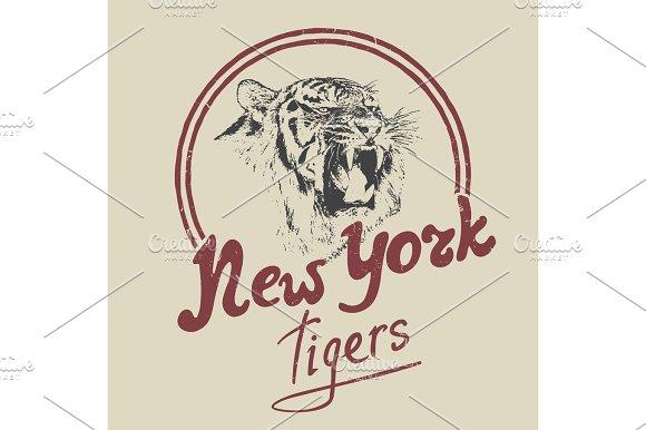 New York Tiger Retro Label