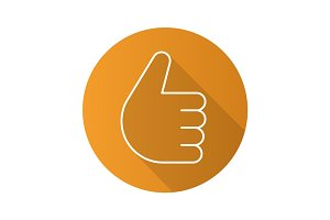 Thumbs up hand gesture. Flat linear long shadow icon