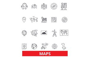 Maps, globe, compass, scheme, blueprint, atlas, diagram, picture, projection,print line icons. Editable strokes. Flat design vector illustration symbol concept. Linear signs isolated on background