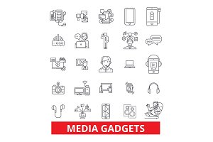 Gadget,technology, appliance, electronics,equipment, technology, gimmick,widget line icons. Editable strokes. Flat design vector illustration symbol concept. Linear signs isolated on white background