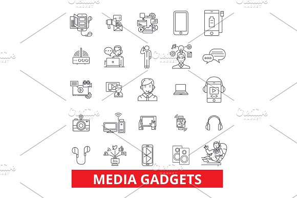 Gadget Technology Appliance Electronics Equipment Technology Gimmick Widget Line Icons Editable Strokes Flat Design Vector Illustration Symbol Concept Linear Signs Isolated On White Background