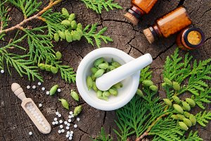 Homeopathy pills and Thuja twigs