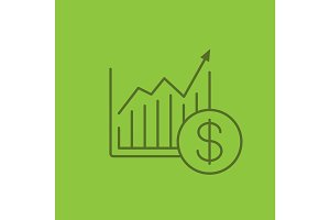 Market growth chart linear icon
