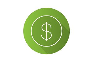 Dollar flat linear long shadow icon