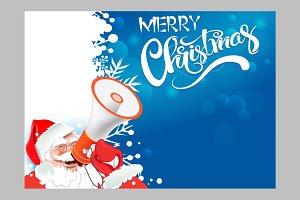 Santa Claus with a megaphone