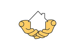 House in hands color icon