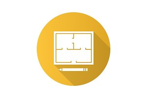 Floor plan flat design long shadow glyph icon