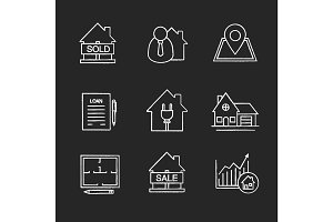 Real estate market chalk icons set