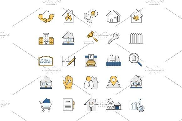 Real Estate Market Color Icons Set