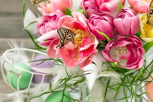 Pink Tulips and Butterflies