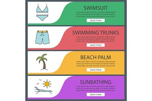 Summer holidays web banner templates set.