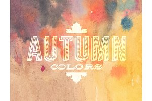 Vector autumn label on watercolor background