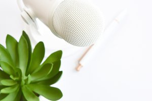 Podcast Stock Photo | White Mic