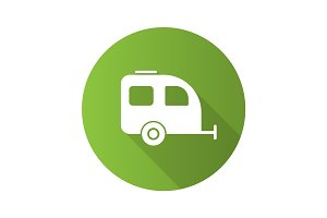 Camping trailer flat design long shadow glyph icon