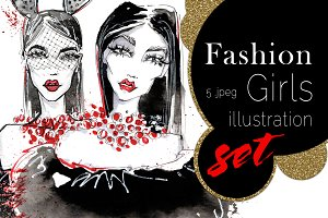 Fashion girls - ink Illustrations