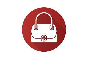 Women's handbag flat design long shadow glyph icon