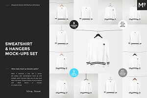 Sweatshirt & Hangers Mock-ups Set