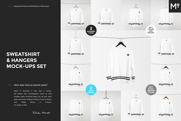 Sweatshirt & Hangers Mock-ups Set