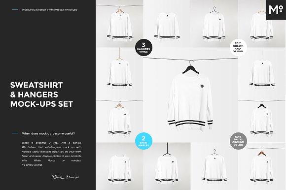 Free Sweatshirt & Hangers Mock-ups Set