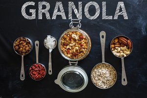 Granola and ingredients