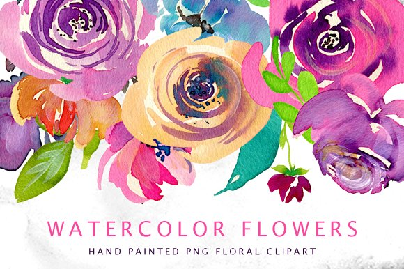 Watercolor bright flowers, -Graphicriver中文最全的素材分享平台