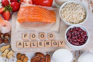 Food allergies - food concept with major allergens