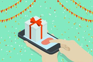 Isometric phone with gift Vector