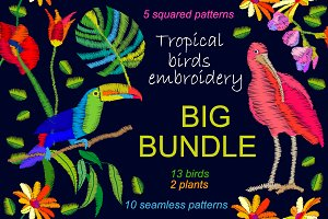 Tropical Birds. Big Embroidered Set