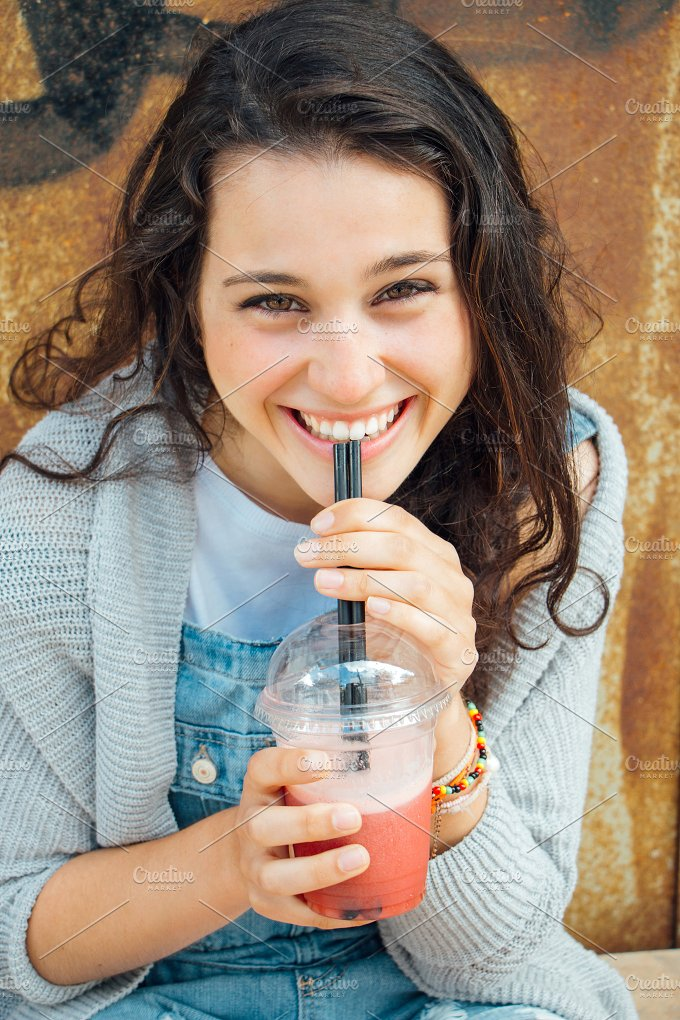 Teen girl with smoothie.jpg - Food & Drink
