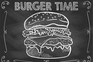 Chalkboard Burger Time Vector