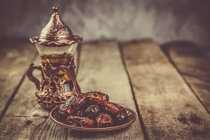 Ramadan kareem holiday concept with iftar dates