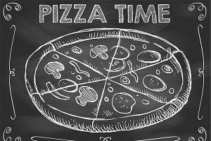 Chalkboard Pizza Time Vector