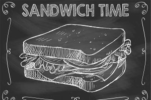 Chalkboard Sandwich Time Vector