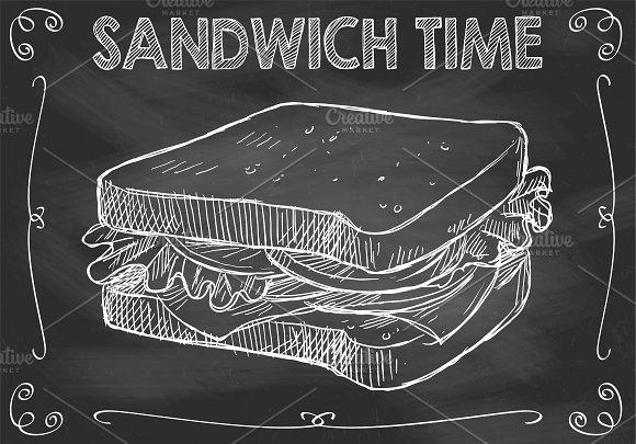 Chalkboard Sandwich Time Vector