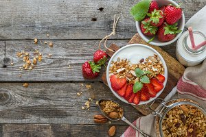 Breakfast - yogurt with granola and straberries