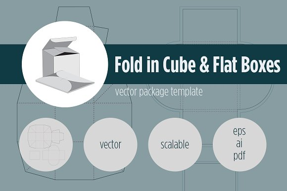 fold in cube flat boxes templates creative market