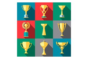 Trophy flat icon set