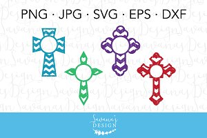 Cross Circle Monogram Cut Files