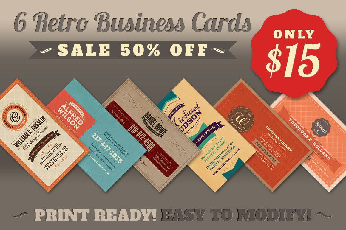 SALE: 6Retro Business Cards 50% Off ~ Business Card Templates ...
