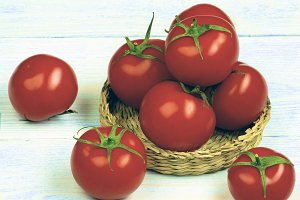 Ripe Tomatoes with Stems