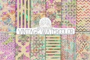 VINTAGE WATERCOLOR digital paper